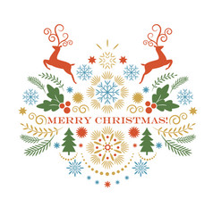 christmas deer merry greeting card vector image