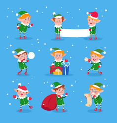 christmas elf baby elves santa claus helpers vector image