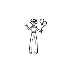 clown on stilts hand drawn sketch icon vector image