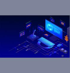 Computer gaming set isometric desktop vector