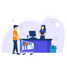 Customers queue at grocery or supermarket vector