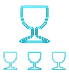 Cyan line wine logo design set vector image