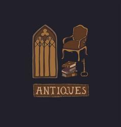 Dark academia concept antique store collection vector