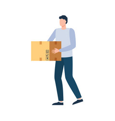 delivery parcel courier holding box vector image