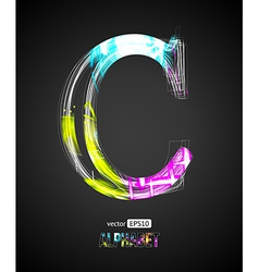 Design Light Effect Alphabet Letter C vector