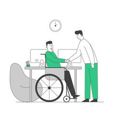 Disabled man in wheelchair shaking hand vector