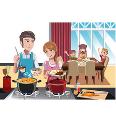 family dinner vector image