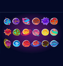 Fantasy colorful planets big set alien planets vector