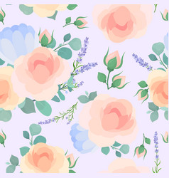 floral flat seamless pattern garden vector image