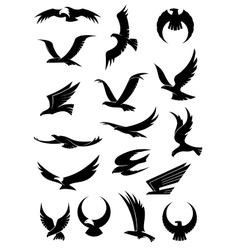 Flying eagle falcon and hawk icons vector image