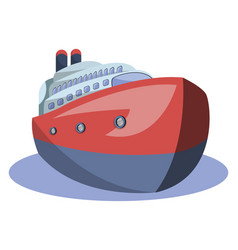 Front view of red and blue of big ship on white vector