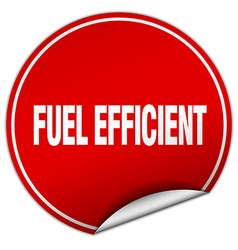 Fuel efficient round red sticker isolated on white vector