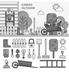 garden in village line monochrome vector image