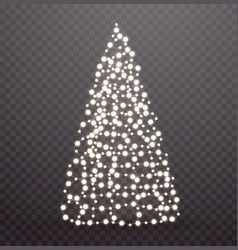 glowing christmas tree made lights and garlands vector image