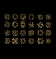 gold mandala on black background vector image