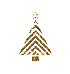 Golden glitter christmas tree flat icon vector