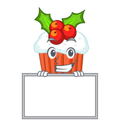 Grinning with board character christmas cupcake vector