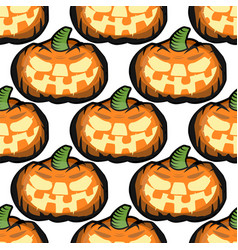 halloween seamless pattern with pumpkins vector image