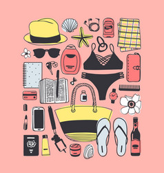 Hand drawn fashion what is in my bag picture vector