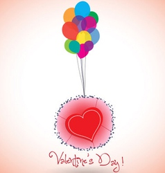 Happy valentine balloons and heart vector image