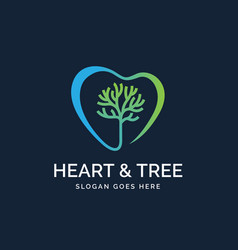 Heart shapes with tree inside medical health logo vector