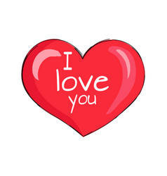 i love you inscription on red heart shape symbol vector image