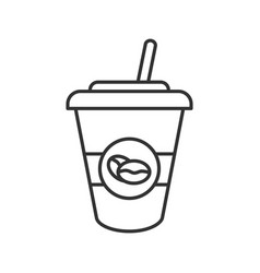 iced coffee drink linear icon vector image