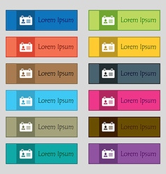 Identification card icon sign Set of twelve vector