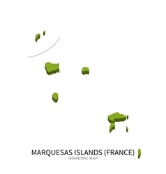 Isometric map of Marquesas Islands detailed vector image