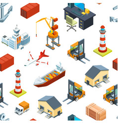 Isometric marine and sea port pattern vector