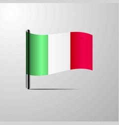 italy waving shiny flag design vector image