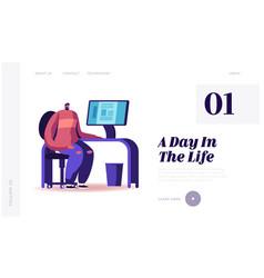 Journalist or editor in typography office website vector