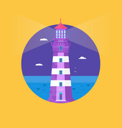 lighthouse on ocean or sea beach cartoon vector image