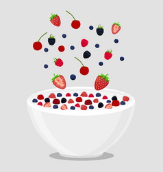Logo for milk splash berries vector