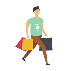man on shopping walks with full paper packages vector image