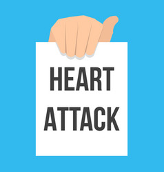 man showing paper heart attack text vector image