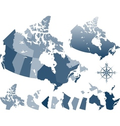 Map canada and provinces vector