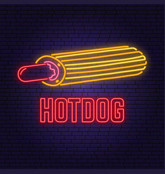 neon hot dog france retro sign on brick wall vector image