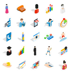 new worker icons set isometric style vector image