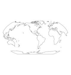 Outline map of world americas centered simple vector