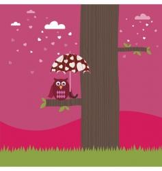 owl with heart umbrella vector image