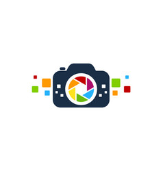 Pixel camera logo icon design vector