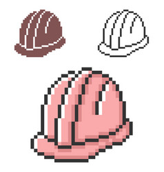 pixel icon construction safety helmet in three vector image