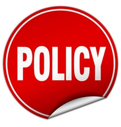 Policy round red sticker isolated on white vector
