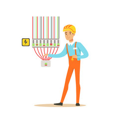 Professional electrician man character checking vector