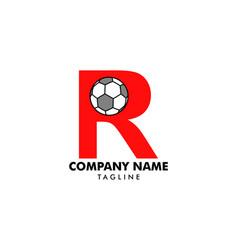 r letter logo football ball logo design vector image