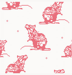 rat - knitted seamless pattern in red color vector image