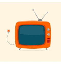 red retro tv with wire Flat Design vector image