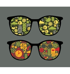 Retro sunglasses with patterns reflection in it vector image