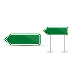 road sign isolated on white background blank green vector image
